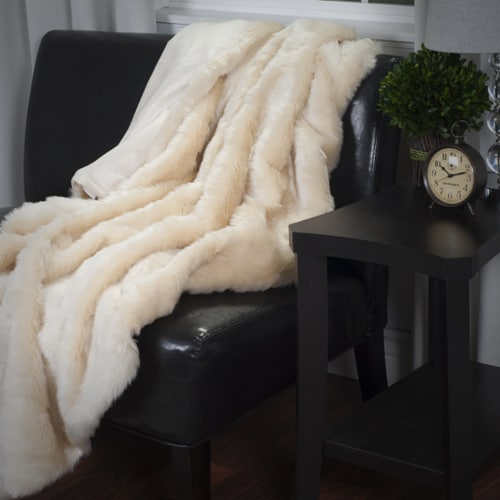 Lavish Home Luxury Long Haired Faux Fur Throw - Beige Perspective: front
