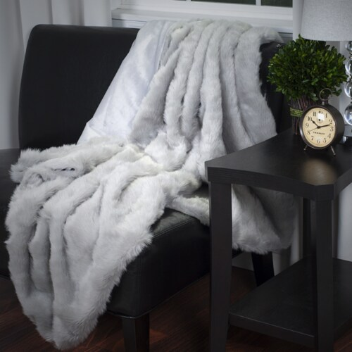 Lavish Home Luxury Long Haired Faux Fur Throw - Grey Perspective: front