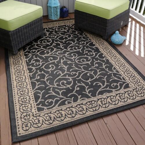 "Lavish Home Ornate Vine Indoor/Outdoor Area Rug - Black - 5'x7'7"" Perspective: front"