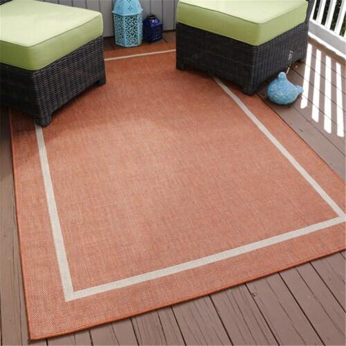 Lavish Home Border Indoor/Outdoor Area Rug - Orange - 5'x7'7 Perspective: front