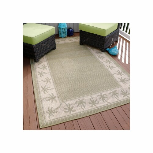 Lavish Home Palm Trees Indoor/Outdoor Area Rug - Green - 5'x7'7 Perspective: front