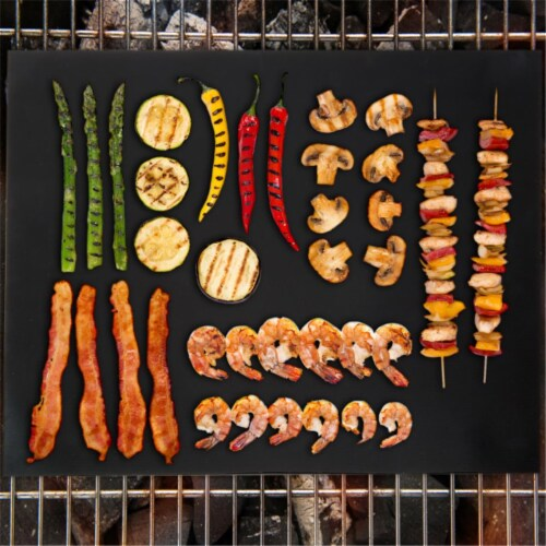 Trademark Global 82-30X40 16 x 13 in. Classic Cuisine Non-Stick Reusable BBQ Grill Mat - Set Perspective: front