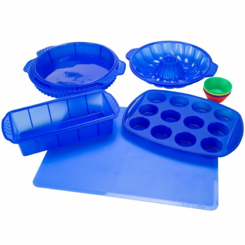 Classic Cuisine Blue Silicone Bakeware Set, 18 Piece Perspective: front