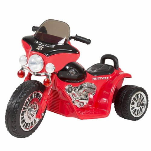 Trademark Global 90-YJ876R 3 Wheel Mini Motorcycle Trike for Kids - Police Car Red Perspective: front