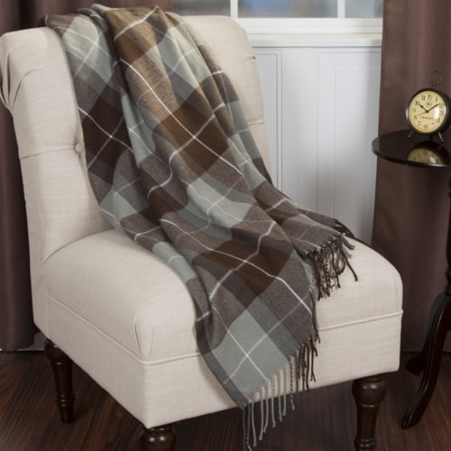 Lavish Home Cashmere-Like Blanket Throw - Brown Perspective: front