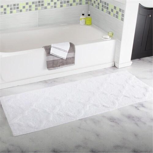 Lavish Home 100% Cotton Trellis Bathroom Mat - 24x60 inches - White Perspective: front