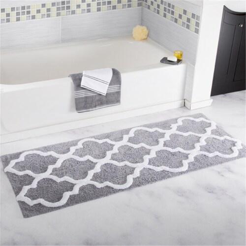 Lavish Home 100% Cotton Trellis Bathroom Mat - 24x60 inches - Silver Perspective: front