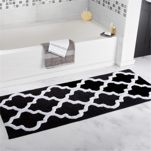 Lavish Home 100% Cotton Trellis Bathroom Mat - 24x60 inches - Black Perspective: front