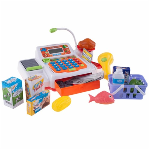 Hey Play 80-PP-FA13483 Pretend Electronic Cash Register with Real Sounds & Functions Perspective: front