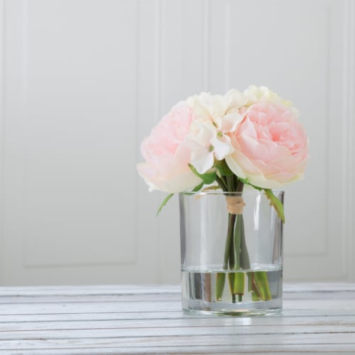 Pure Garden Hydrangea and Rose Floral Arrangement – Pink and Cream Perspective: front