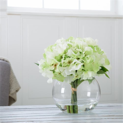 Pure Garden Hydrangea Floral Arrangement with Glass Vase - Green Perspective: front