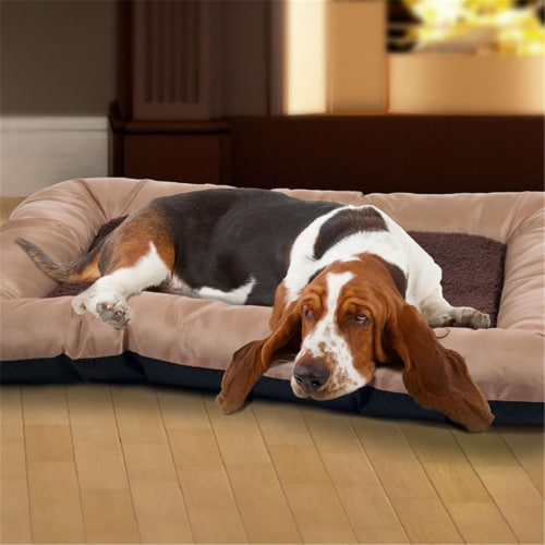 "PETMAKER 43""x29"" Plush Cozy Pet Bed - Tan Perspective: front"