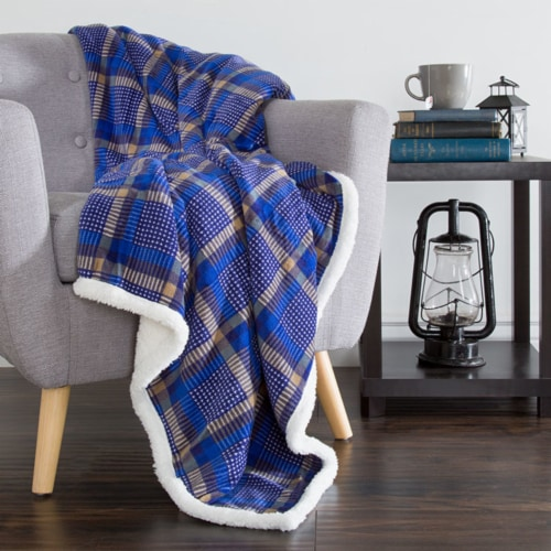 Lavish Home Fleece Sherpa Blanket Throw - Plaid Blue/Yellow Perspective: front
