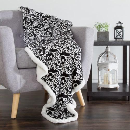 Lavish Home Fleece Sherpa Blanket Throw - Black/White Perspective: front