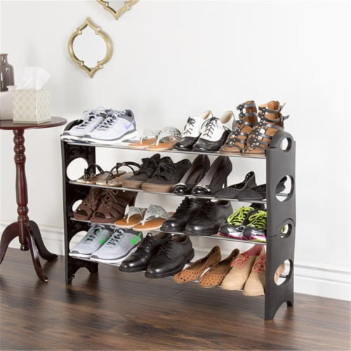 Everyday Home 4 Tier Stackable Shoe Rack 16 Pair Capacity - Black Perspective: front