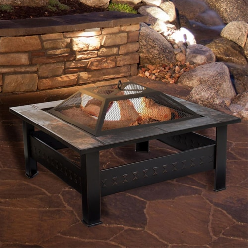 Pure Garden 50-155 32 in. Fire Pit Set, Wood Burning Pit Perspective: front