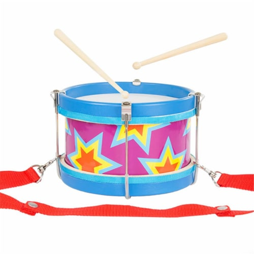 Hey Play 80-GD-5124 Double-Sided Toy Marching Drum with Adjustable Strap & Two Wooden Drum St Perspective: front