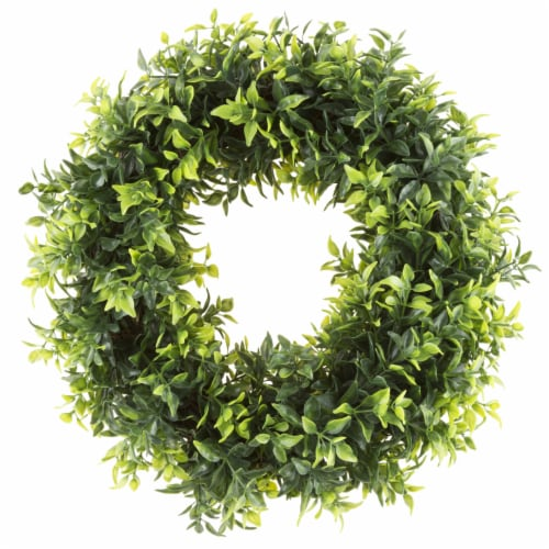 Artificial Opal Basil Leaf 11.5 inch Round Wreath by Pure Garden Perspective: front
