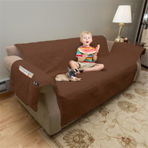 Petmaker 80-PET5078 100 Percent Waterproof Protector Cover for Couch & Sofa - Brown Perspective: front