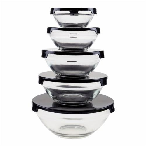 Glass Bowl Set 10 Pieces with Black Lids Nesting Storage Bowls Perspective: front