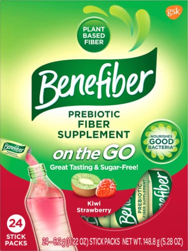 Benefiber On The Go! Kiwi Strawberry Fiber Drink Mixes Perspective: front