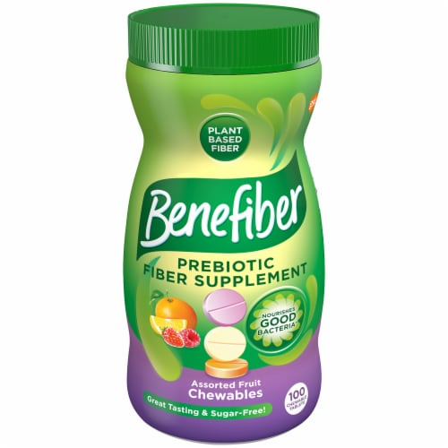 Benefiber Prebiotic Fiber Supplement Assorted Fruit Chewables Perspective: front