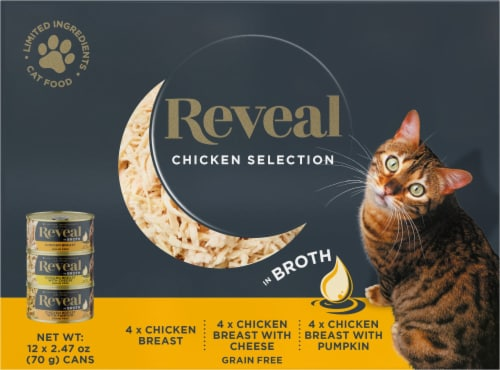 Reveal Grain Free Chicken Selection in Broth Wet Cat Food 12 Count Perspective: front