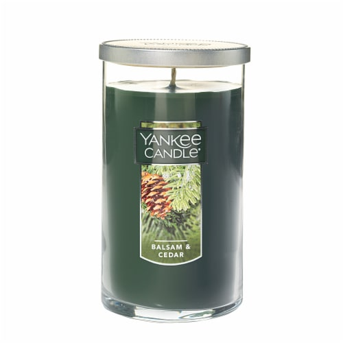 Yankee Candle Balsam and Cedar Pillar Candle - Green Perspective: front