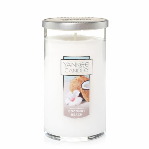 Yankee Candle Coconut Beach Pillar Candle - White Perspective: front