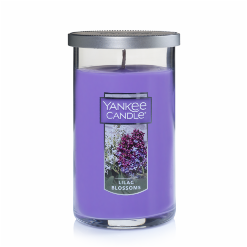 Yankee Candle Lilac Blossoms Pillar Candle - Purple Perspective: front