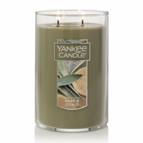 Yankee Candle® Sage & Citrus Pillar Candle - Gray Perspective: front
