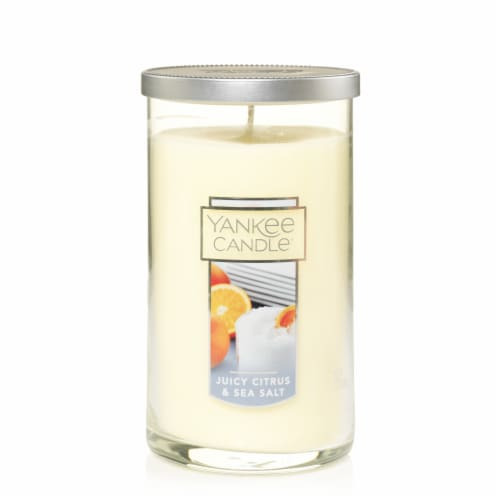 Yankee Candle Juicy Citrus & Sea Salt Glass Pillar Jar Candle Perspective: front