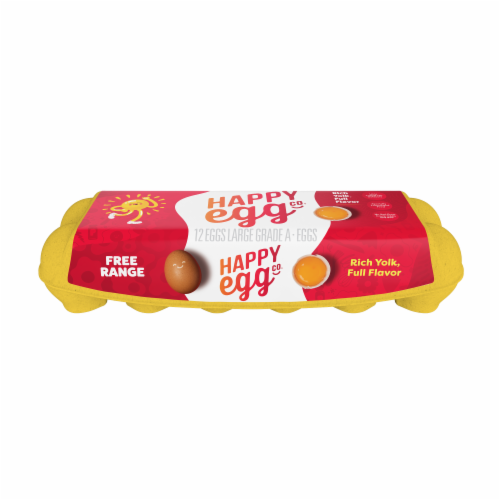 Happy Egg Co. Free Range Grade A Large Brown Eggs Perspective: front