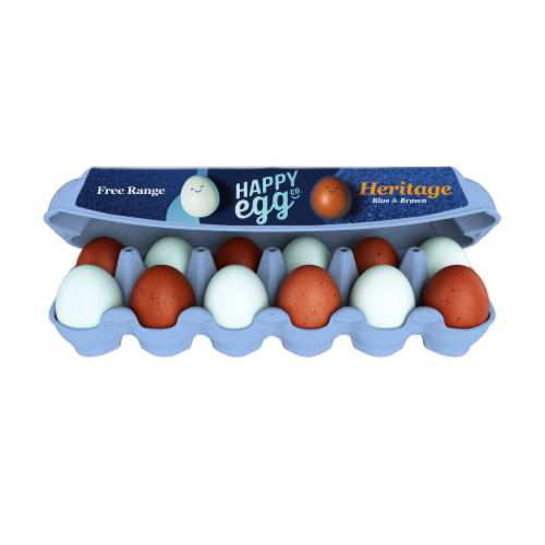 Happy Egg Co. Heritage Breed Free Range Blue & Brown Large Eggs Perspective: front
