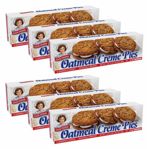 Little Debbie Oatmeal Creme Pies, 6 Boxes, 72 Soft Oatmeal Cookies with Creme Perspective: front