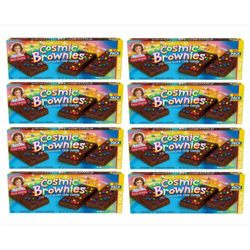 Cosmic Brownie Big Packs, 8 Boxes, 96 Individually Wrapped Brownies with Chocolate Chip Candy Perspective: front