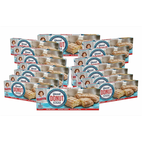 Little Debbie Glazed Donut Sticks, 16 Boxes, 96 Individually Wrapped Sweet Glaze Donuts Perspective: front