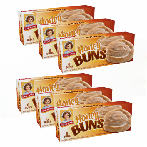 Little Debbie Honey Buns, 6 Boxes, 36 Individually Wrapped Breakfast Pastries Perspective: front