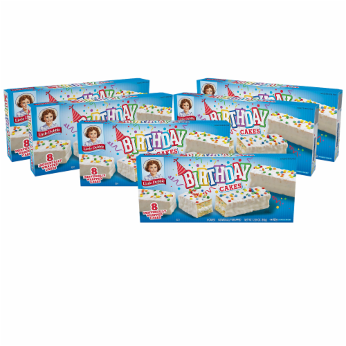 Birthday Cakes, 6 Boxes, 48 Individually Wrapped Vanilla Cakes with Candy Confetti Perspective: front