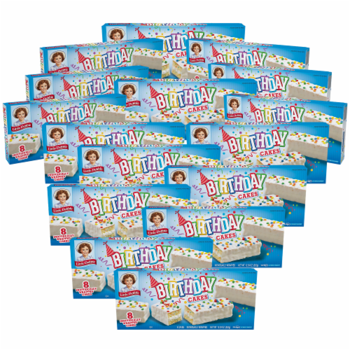 Birthday Cakes, 16 Boxes, 128 Individually Wrapped Vanilla Cakes with Candy Confetti Perspective: front