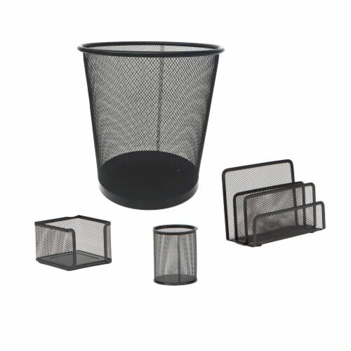 Mind Reader 4-Piece Mesh Desk Organizer Set - Black Perspective: front