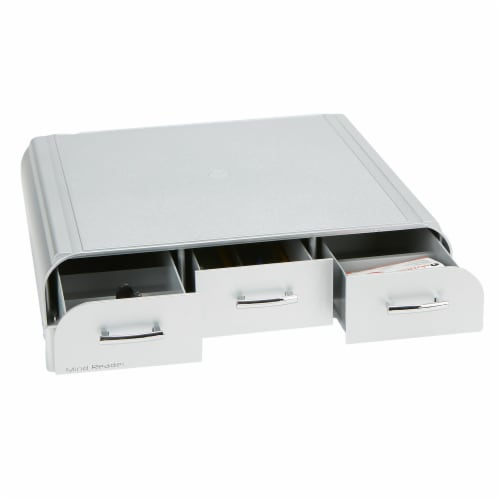 Mind Reader Adjustable Height Monitor Stand with Storage Drawers - Silver Perspective: front