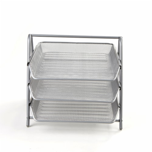 Mind Reader 3-Tier Mesh Paper File Tray Desk Organizer - Silver Perspective: front