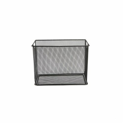 Mind Reader Metal Mesh File Organizer Storage Basket - Black Perspective: front