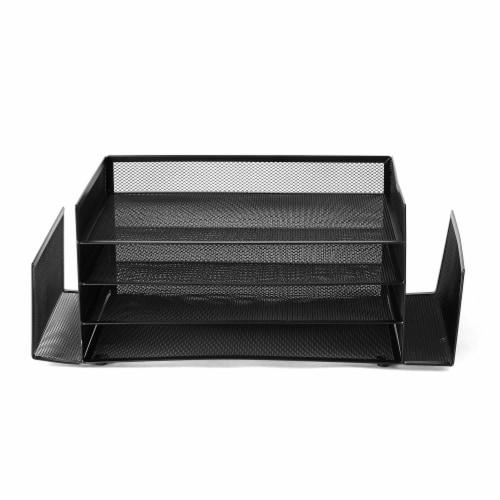 Mind Reader 6-Compartment Desk Organizer - Black Perspective: front
