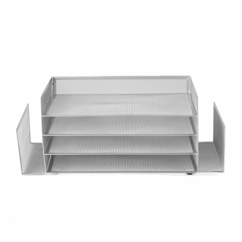 Mind Reader 6-Compartment Desk Organizer - Silver Perspective: front