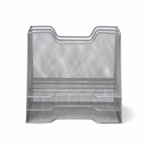 Mind Reader 5 Compartments Desk Organizer Tray - Silver Perspective: front