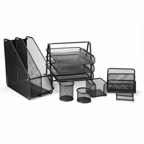 Mind Reader 7 Piece Desk Set - Black Perspective: front