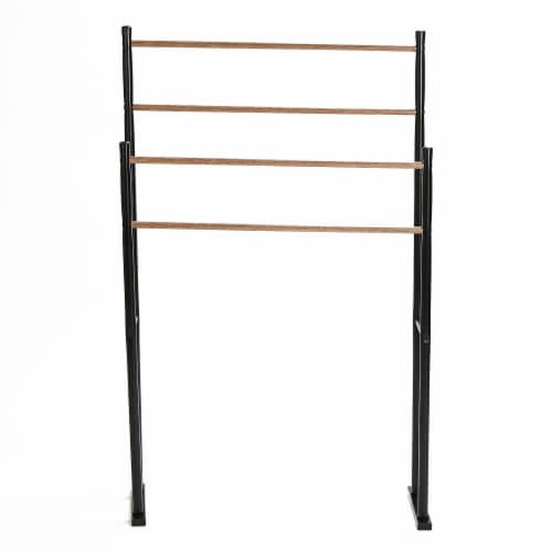 Mind Reader 4-Bar Freestanding Towel Rack - Black Perspective: front