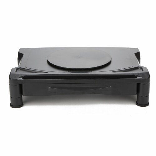 Mind Reader Rotative Adjustable Monitor Risers with Drawer - Black Perspective: front